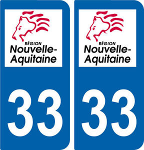 region aquitaine 2 stickers autocollant plaque immatriculation departement 33 ebay. Black Bedroom Furniture Sets. Home Design Ideas