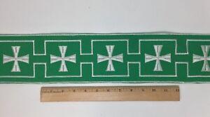 Vintage-Casula-Bianco-Croce-su-Verde-10-8cm-Bendaggio-Venduto-da-da-Campo