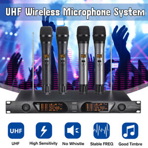 UHF-Dual-Wireless-Microphone-System-Handheld-Kabellos-Karaoke-Mic-LCD-KTV