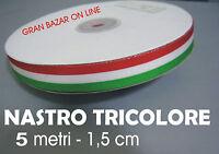 NASTRO ITALIA TRICOLORE TESSUTO  5 metri 1,5 cm Evento Party Festa Decora