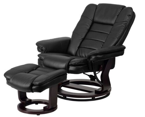 Swivel Recliner Chair Bonded Leather Black Reclining Turn 360 Movie Room Ottoman