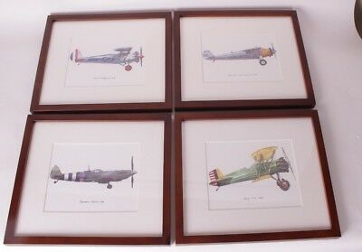 Set 4 Nib Pottery Barn Kids Framed Vintage Plane Airplane