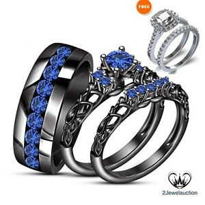 Image Is Loading Black Gold Over 3 Ct Blue Shire Wedding