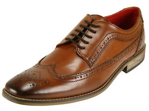 242f7c29464d3 Base London Mens Washed Vintage Look Leather Brogue Office Lace Up ...