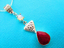 925 Sterling Silver Pendant With Natural Kashmiri Ruby & Opalite   (nk1595)