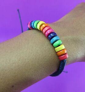 Natural-Wooden-Colorful-Bead-Bracelet-Handcraft-Hippie-Boho-surfer-adjustable
