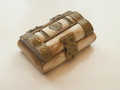 Camel Bone And Brass Trinket Box With Purple Interior Ebay