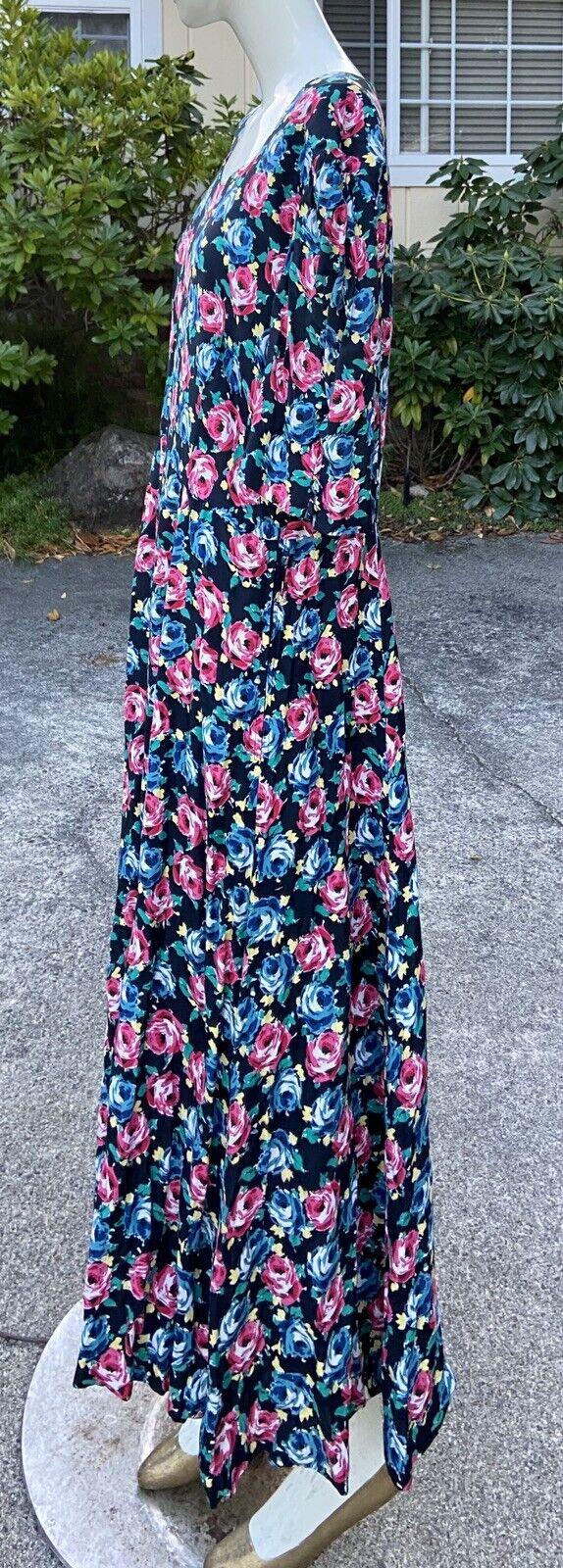 80s 90s Vtg Floral Print Laura Ashley Dress Cotta… - image 6