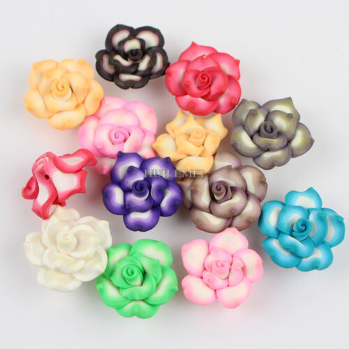 Wholesale 20pcs//lot Mixed 25mm Polymer Fimo Clay Lotus Flower Loose Spacer beads