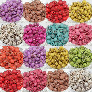 Wholesale-Turquoise-Carved-Skull-Head-Howlite-Spacer-Loose-Beads-10-12mm