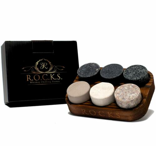 Set of 6 Handcrafted Whisky Granite Sipping Rocks Box Whiskey Chilling Stones