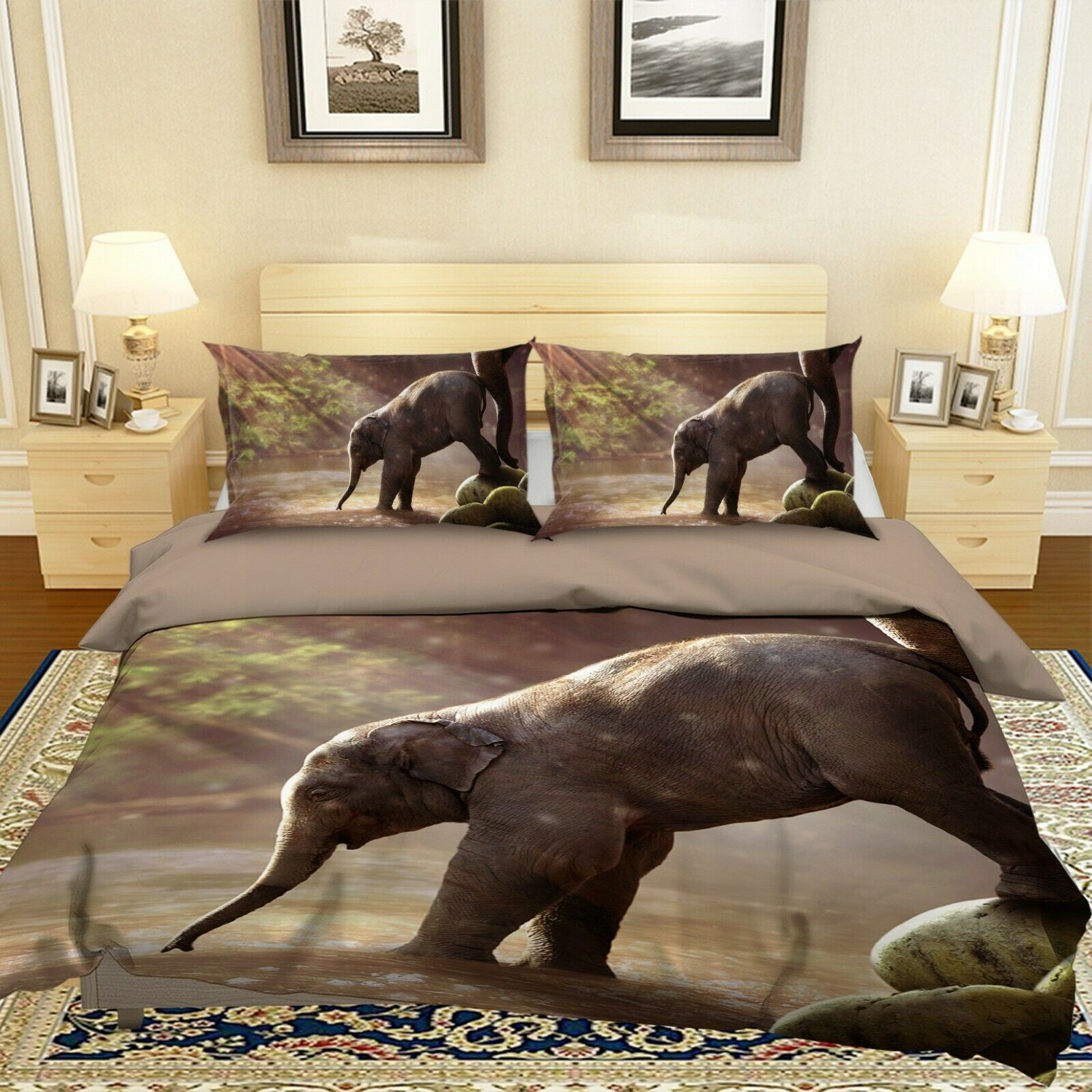 3D Baby Elephant N36 Animal Bed Pillowcases Quilt Duvet Cover Queen King Amy