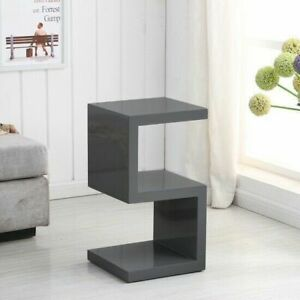 details about modanuvo s shape side lamp coffee bedside end table full grey high gloss