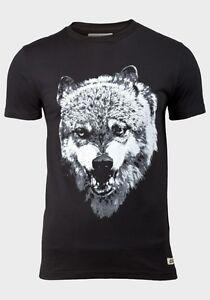 039-D-STRUCT-039-Camiseta-estampada-para-Hombre-Lobo-Manga-Corta-Cuello-Redondo
