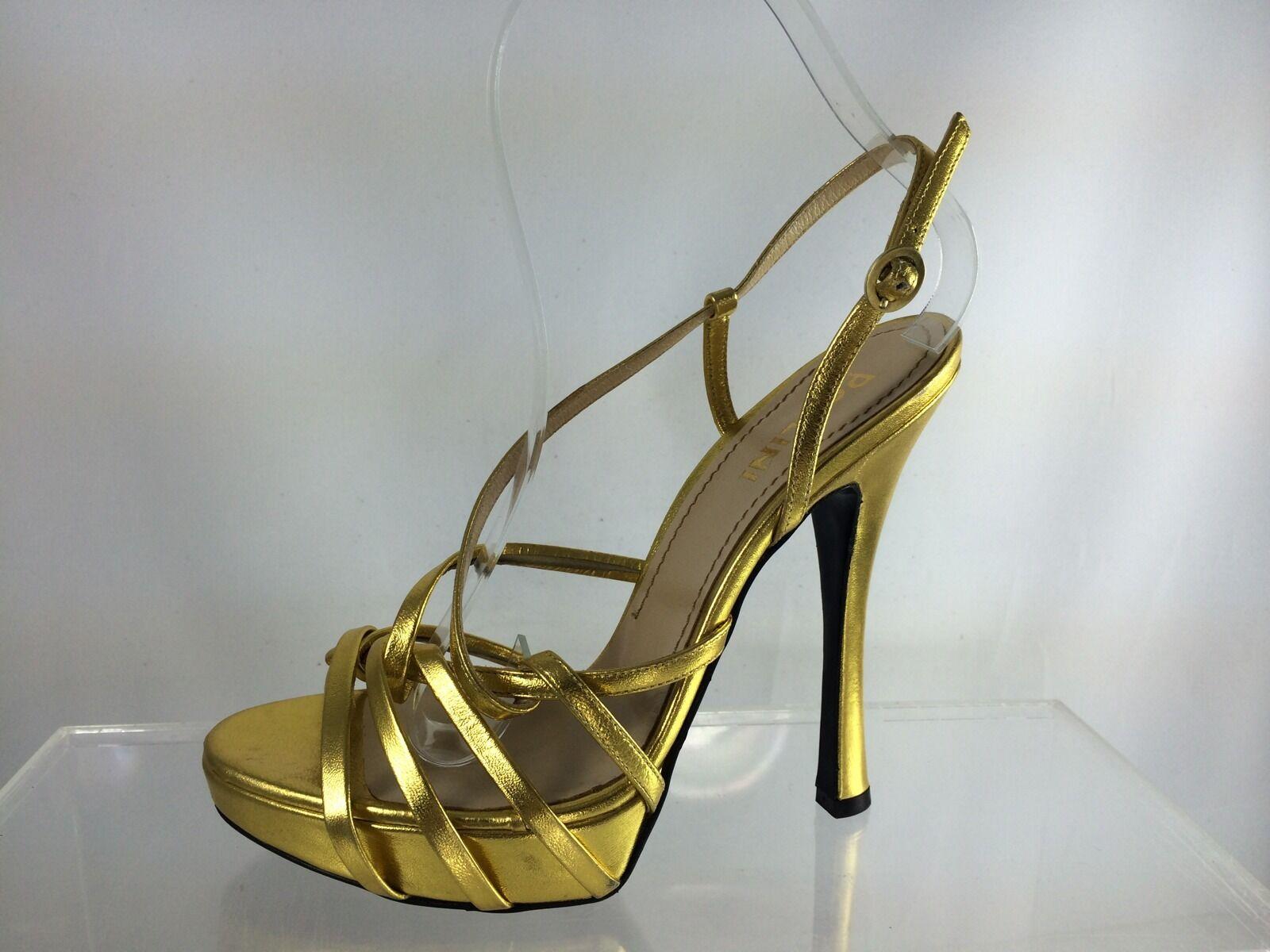 $695 New High Pollini Gold Metallic  Leder Strappy High New Heel Sandals 37.5 748d76