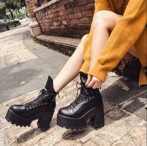 Womens Punk Platform Lace Up Ankle Boots High Top shoes Warm Biker Knight U679