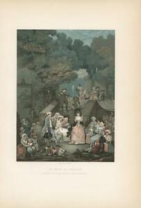 ANTIQUE VERSAILLES WEDDING BRIDE GROOM COSTUME CHATEAU CHROMOLITHOGRAPH PRINT