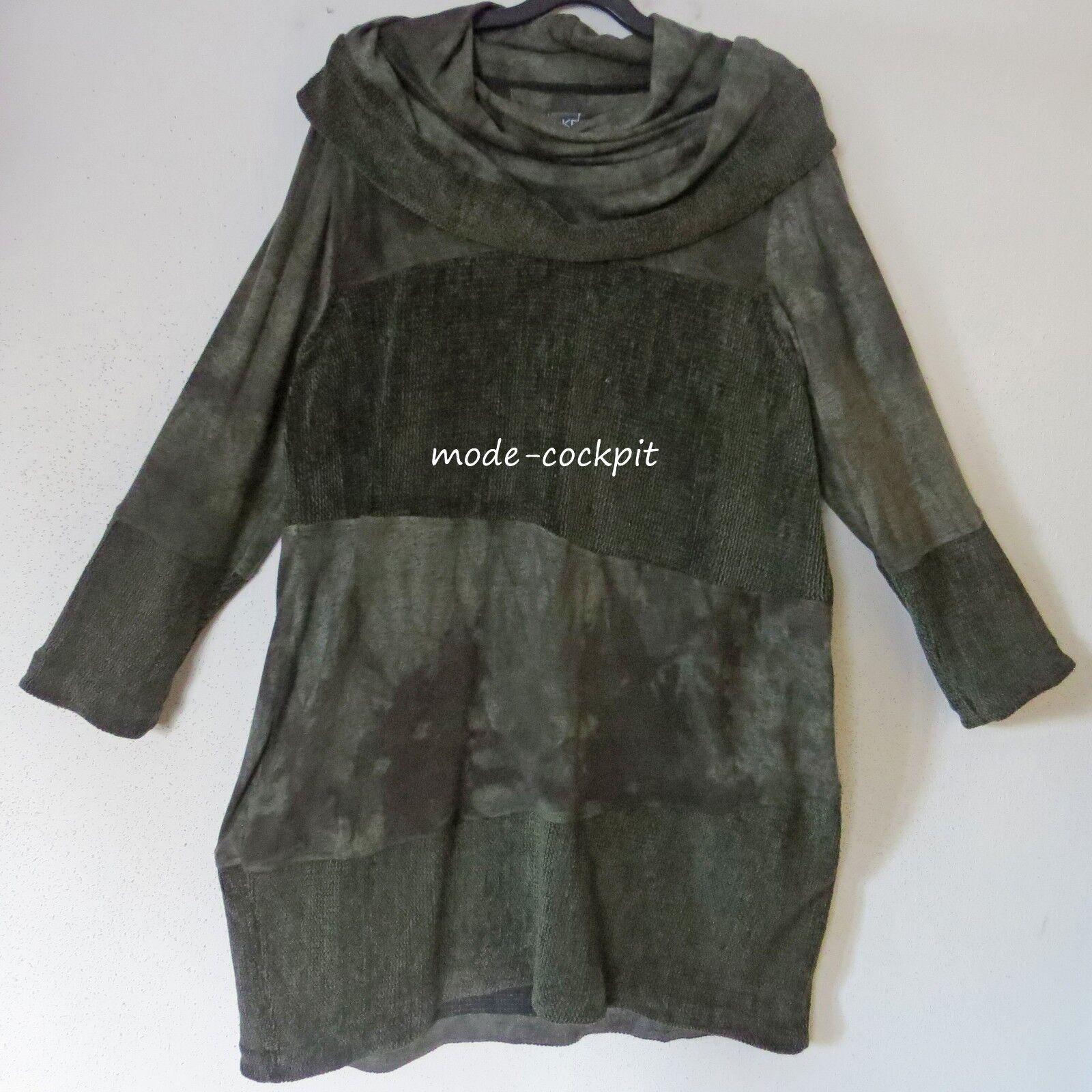 KEKOO softes Kuschel Tunika Kleid Batik Materialmix Schalkragen grün 50-52 (4)