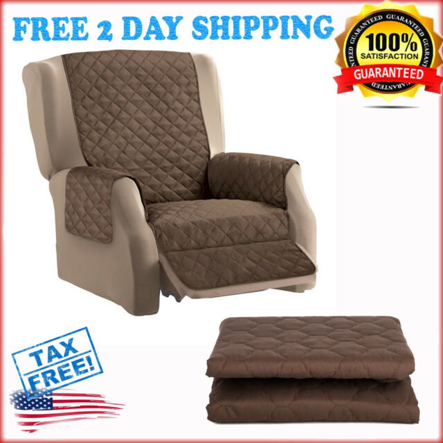 Quilted Furniture Protector Cover Recliner Sofa Reversible Elastic