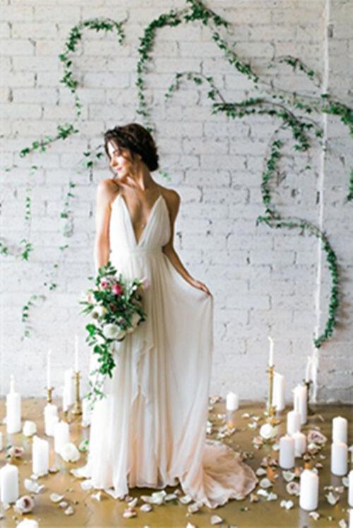 Boho Chiffon Beach Wedding Dresses Deep V Neck Spaghetti Bridal Gowns Romantic