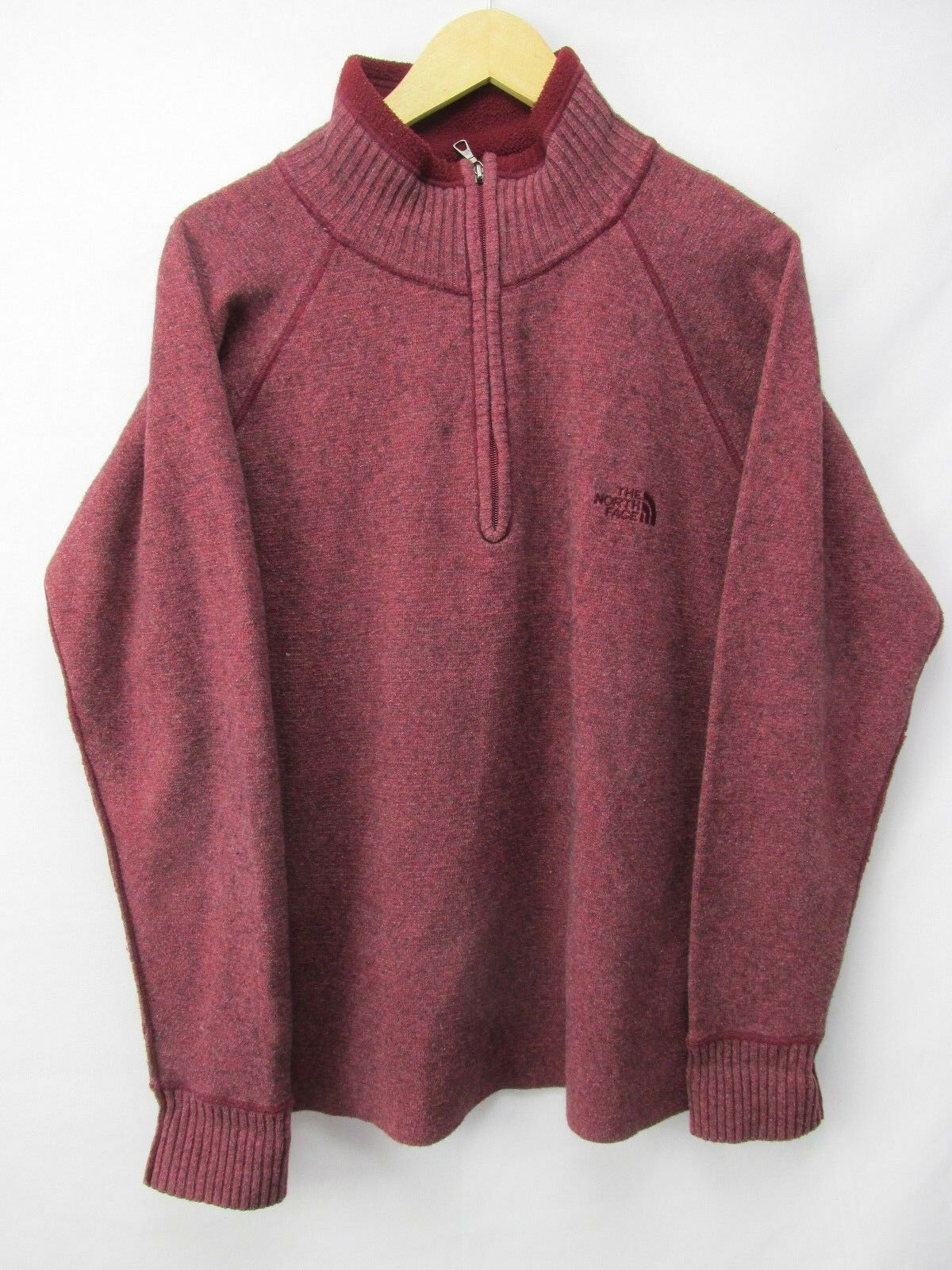 The North Face 1 4 Zip Lite Maroon Wool blend Sweater Fleece Shirt Mens M. NY21