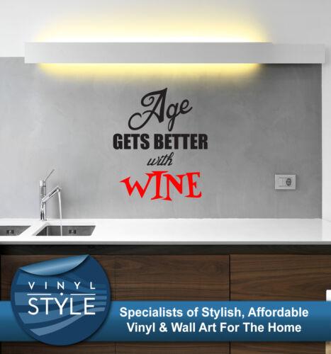 Âge devient mieux avec le vin décor graphique Art Mur Citer Autocollant couleurs différentes