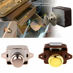 Push Button Latch Lock Cupboard Door Knob Drawer Motorhome Cabinet Latch Knob