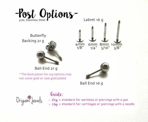 3 CZ Crown cartilage stud simple tragus earring flat back dainty conch earring