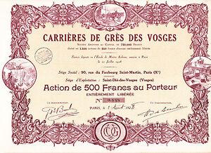Carriéres De Grés Des Vosges-action 500 Francs V.1928-afficher Le Titre D'origine éLéGant En Odeur