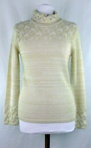 NWOT-Anne-Klein-A-Line-Cowl-Neck-Long-Sleeve-Tunic-Beige-Sweater-Size-Small