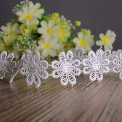 New Embroidered Daisy Flower Applique Useful Lace Trim DIY Sew On Crafts 1yd