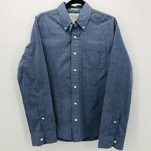 Abercrombie-amp-Fitch-Men-039-s-Medium-Muscle-Fit-Blue-Polka-Dot-Button-Down-Shirt
