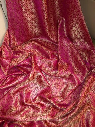 """45/"""" De Ancho Oferta Especial Nuevo En Stock 10 MTR nuevo color de rosa caliente Tejido Jacquard Brocade."""