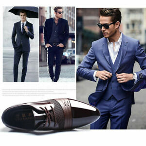 US-Men-039-s-Business-Dress-Formal-Oxfords-Leather-Shoes-Flat-Lace-Up-Casual-Loafers