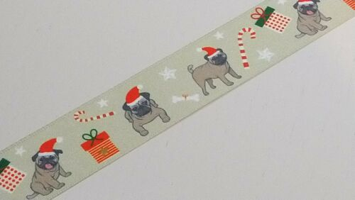 25mm Wide Christmas Dogs Satin Ribbon