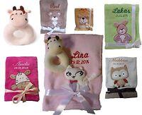 Babydecke mit Namen bestickt + Spielzeug Rassel Kuh Geschenk Geburt Taufe Baby