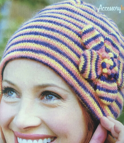 KNITTING PATTERN Ladies Striped Hat /& Wrist Warmers Flower Applique Mittens 4ply