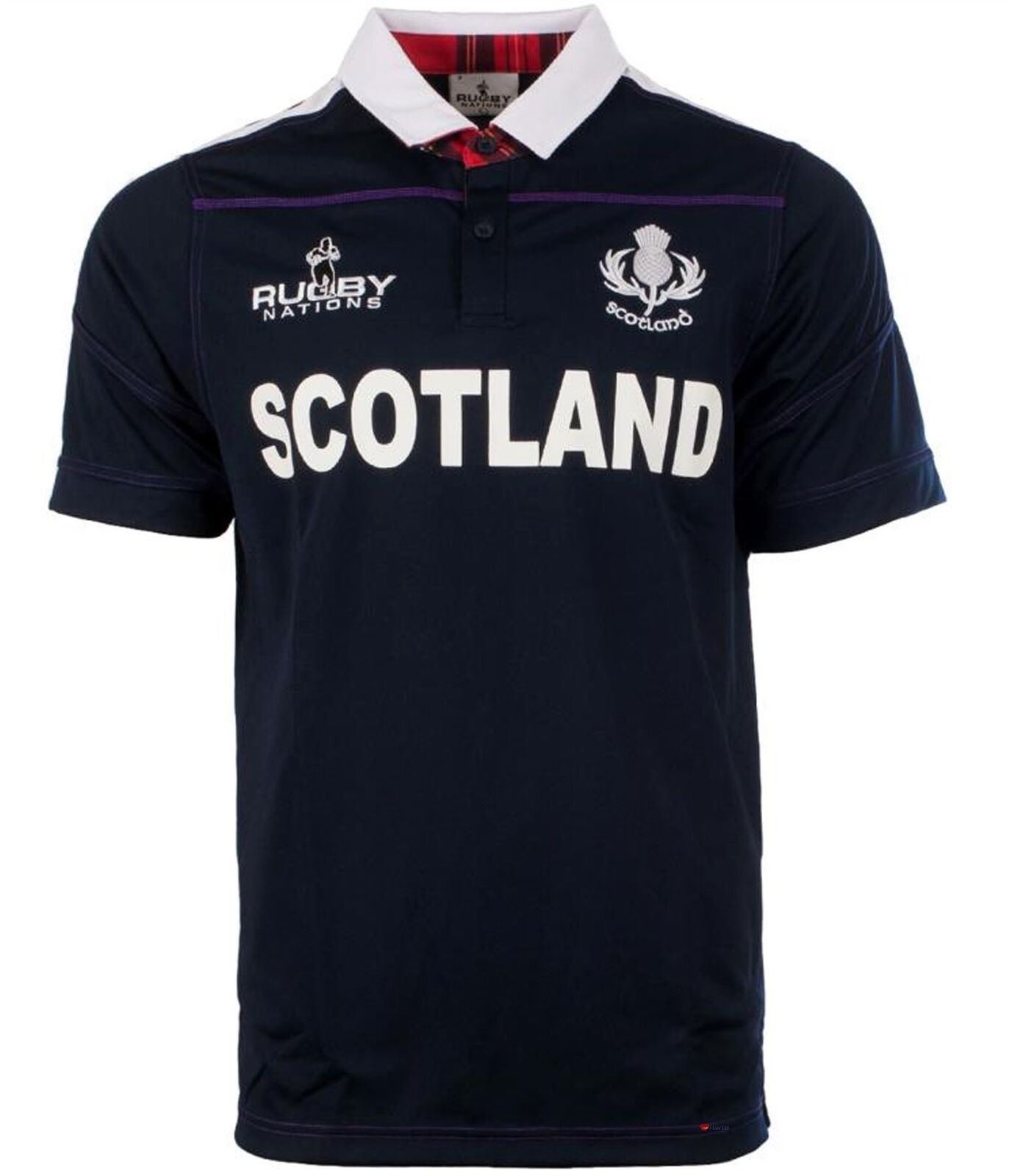 Gents Rugby Nations Rugby Shirt With Scotland Text In Navy Größe Large
