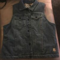 Maurices Silver Jeans Denim Thick Vest With Plaid Lining Msrp$78