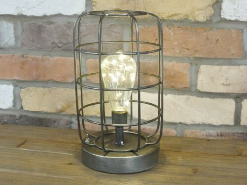 Vintage Industrial LED Single Cage Metal Fairy Lights Lamp Battery Operated