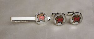 Maryland-Terrapins-Tie-Clip-and-Cufflink-Set-Made-From-Football-Trading-Cards