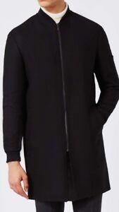 6aaa9bd03 Details about Mens Topman Black 80% Wool jacket size 42 longline smart  Bomber jacket full zip
