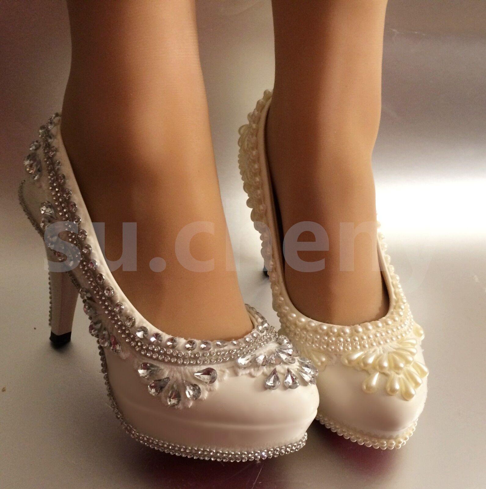 90ebb657c8d Su.cheny 3 4 ivory lace crystal pearl Wedding Bridal pumps heels ...