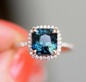 Details About 2ct Cushion Cut London Blue Topaz Halo New Engagement Ring 14ct Rose Gold Over
