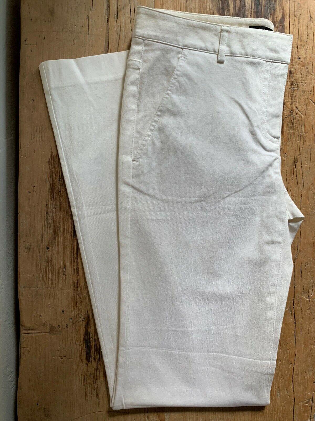 NEW  Theory White Stretch Cotton Bootcut Leg Pants Size 6