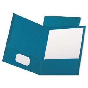 Oxford Linen Finish Twin Pocket Folders Letter Teal 25 Box