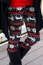 Holiday Christmas Leggings Reindeer Snowflake Printed Soft ONE SIZE