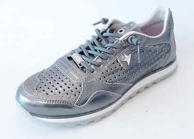 Cetti Sneaker C848 plata grau silber Leder Gummisenkel Soft Sohle