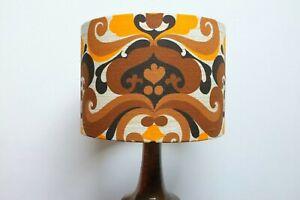 Original-60s-70-039-s-Fabric-Lampshade-Retro-30cm-Drum-Geomteric-Brown-Orange