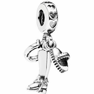 Sterling Silver Jockey equiptment Gear Fouet Dangle European Bead Charm